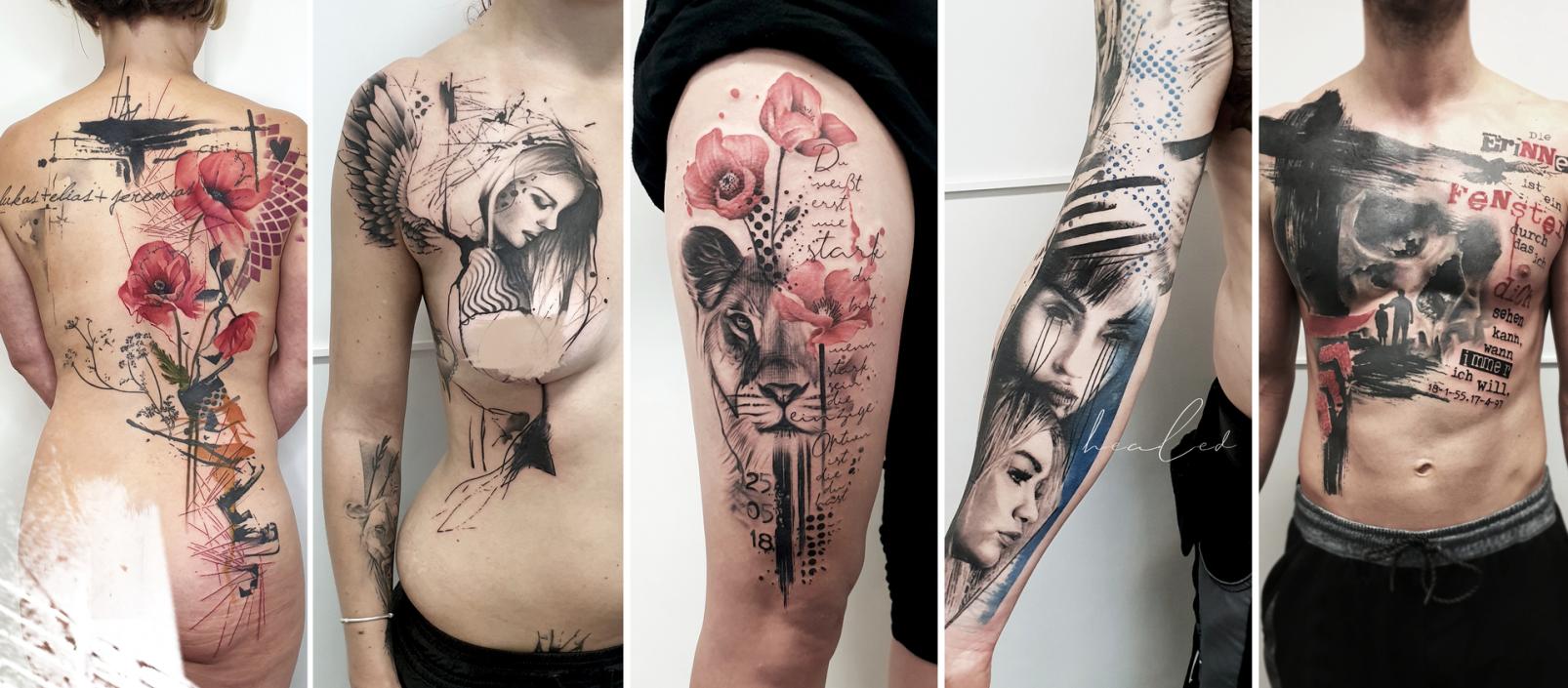 Stechpunkt Aquarell Tattoo