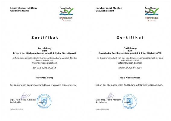 Stechpunkt Zertifikat SächsHygVO